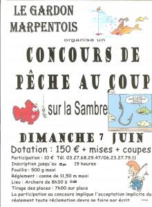 affiche du concours de pêche du gardon marpentois